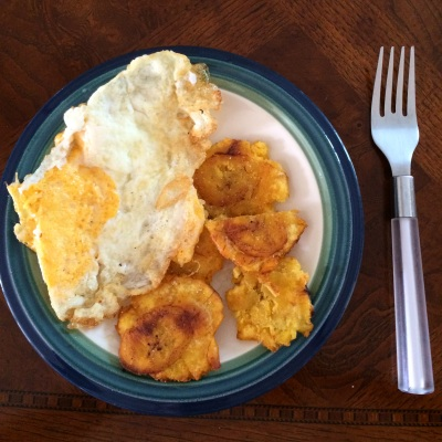 Fried egg and fried plantains
