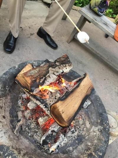 Roasting marshmallows at Peekamoose Restaurant