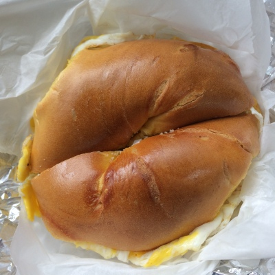 Egg and cheese on a bagel