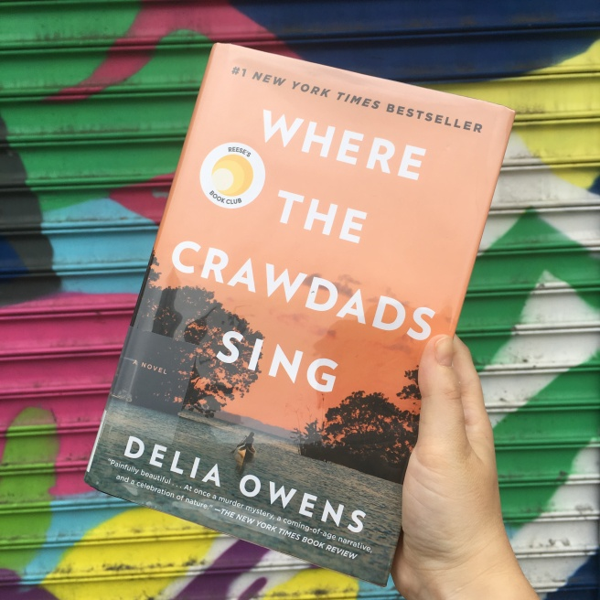 I am holding the book Where the Crawdads Sing. The cover is orange and on the bottom there is an image of a woman in a canoe rowing out to sea between two trees. The background of the photo is a colorful spray painted metal grate.